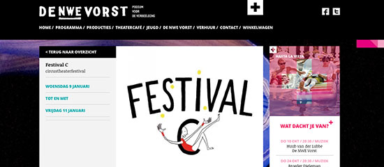 website de nieuwe Vorst over Festival C